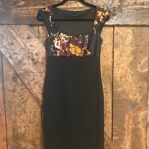 Black and floral Tahari dress